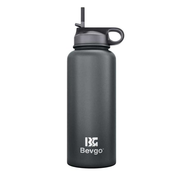 Bevgo Stainless Steel Wide Mouth Bottle - 800mL + with Bonus Cap and Carabiner Clip - FREE SHIPPING (AUSTRALIA WIDE)