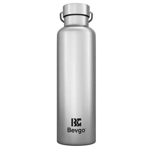 Bevgo Stainless Steel Bottle - 750mL with Bonus Cap and Carabiner Clip