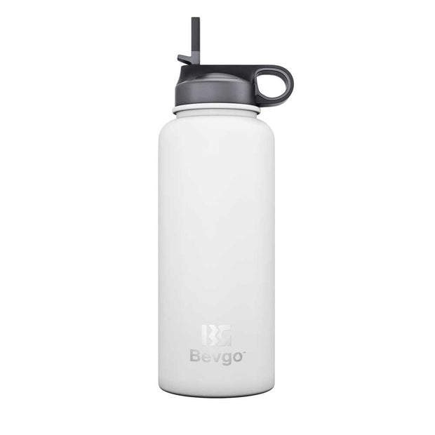 Bevgo Stainless Steel Wide Mouth Bottle - 800mL + with Bonus Cap and Carabiner Clip