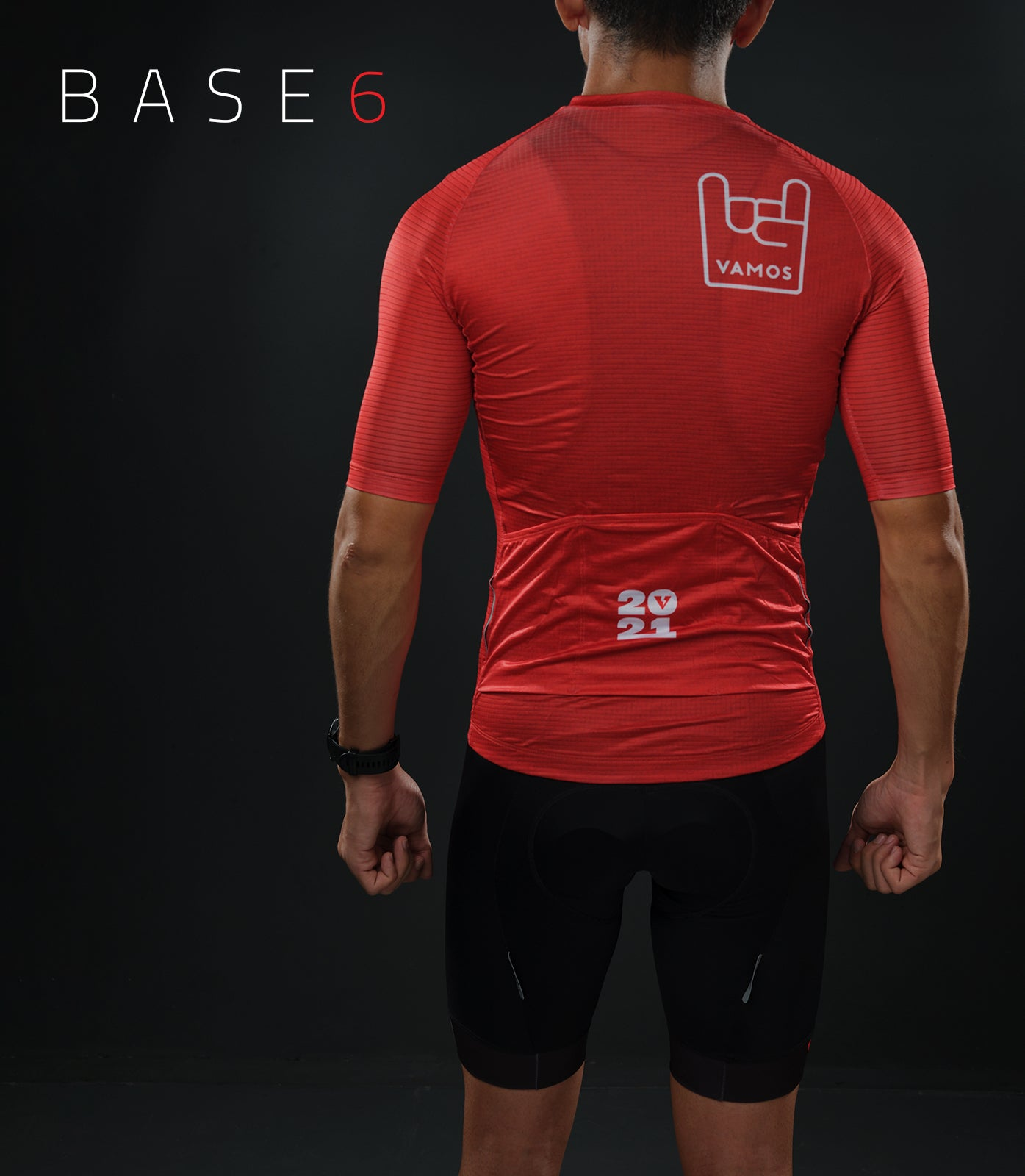 BASE6 MEN'S CYCLING TOP (RED)