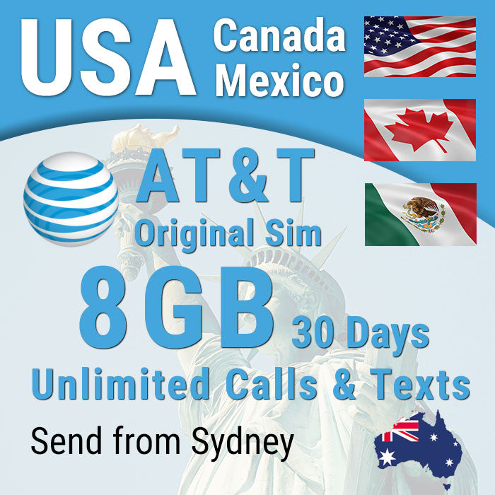 USA sim card  AT&T Prepaid Hawaii Canada Mexico 8GB