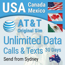 USA sim card AT&T Prepaid Hawaii Canada Mexico Unlimited 4G data