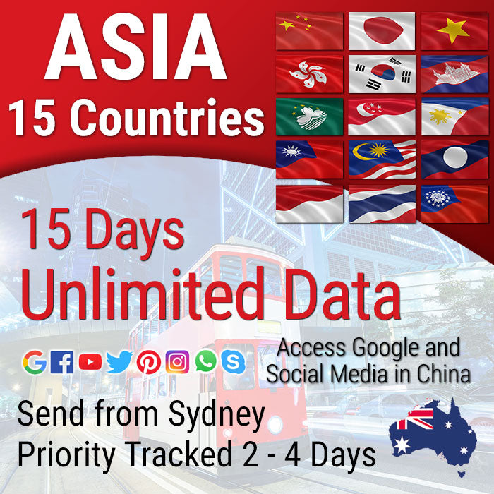 Asia Sim Card | 15 Destinations | 15 days | Unlimited Travel Prepaid Data Sim Card