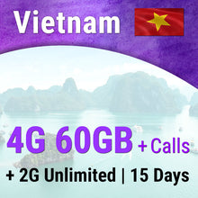 Vietnam Sim Card | 15 days | 4G - 60GB | 2G - Unlimited | Travel Sim Card