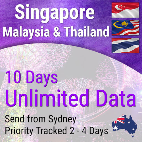 Singapore, Malaysia and Thailand Sim Card | 10 days | Unlimited Travel Data Sim Card