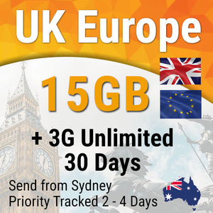 Europe Sim Card | UK Travel Sim | 42 Countries | 30 days 15GB