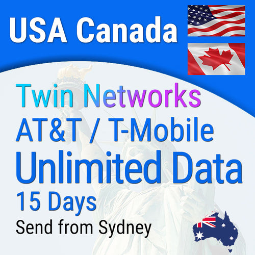 Sim Card USA and Canada Prepaid Travel (incl Hawaii) | 15 days Unlimited Data