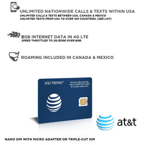 Sim Card USA | AT&T Prepaid Travel Sim card Original | Including Hawaii, Alaska, Canada and Mexico