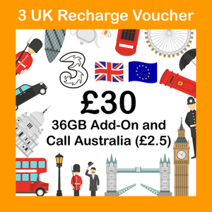 Europe UK Three Top up recharge voucher (Accept Australian credit card or PayPal)