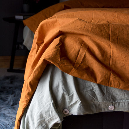 Cotton Percale Bedding in Amber