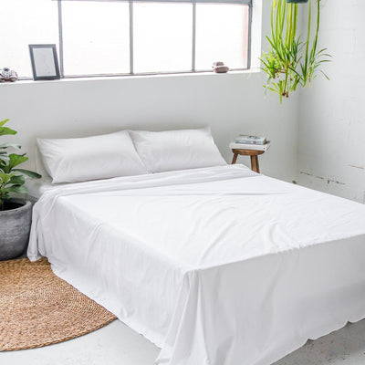 White Cotton Percale Flat Sheet