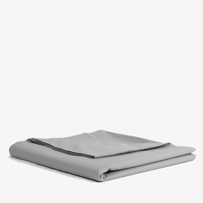 Cotton Percale Flat Sheet in Stone Grey