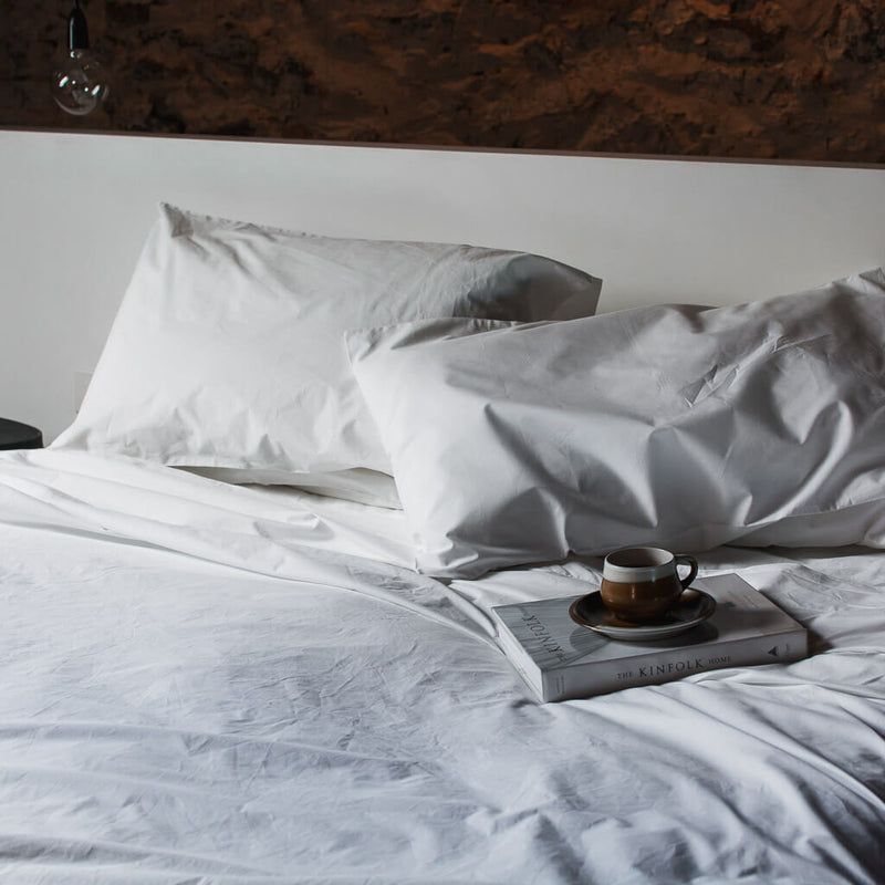 Heavyweight Thick Cotton Percale Bedding Set White