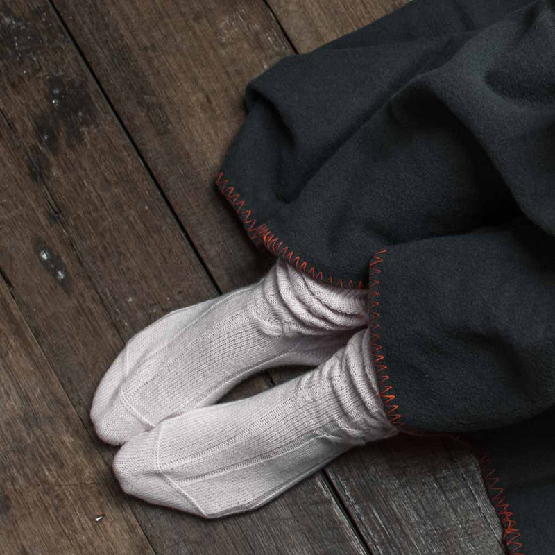 Cashmere bed socks cable knit dove grey