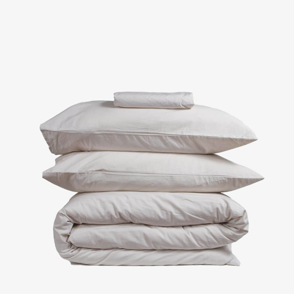 Washed Cotton Percale Bedding Set Sand