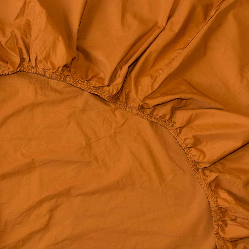 Washed Cotton Percale Fitted Sheet in Amber