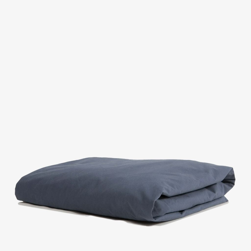 Cotton Percale Fitted Sheet Navy Blue
