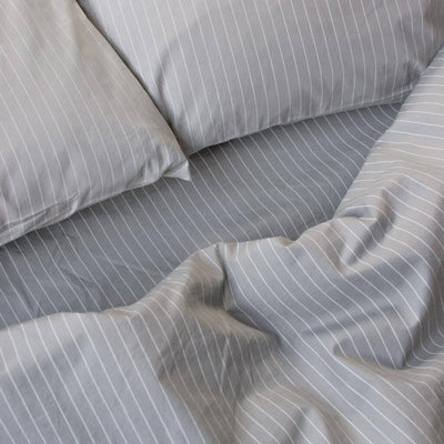 Cotton Percale Fitted Sheet Pinstripe Stone Grey