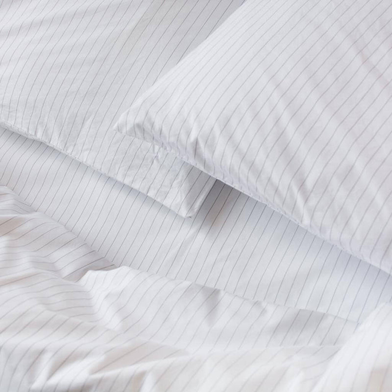 Cotton Percale Fitted Sheet Pinstripe White