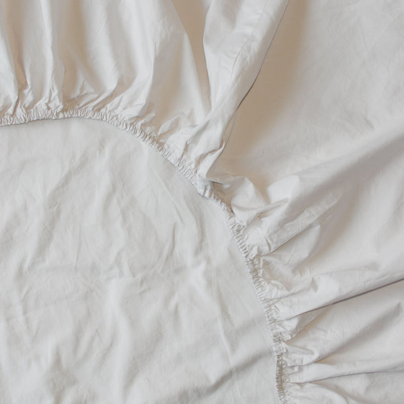 Washed Cotton Percale Fitted Sheet Sand