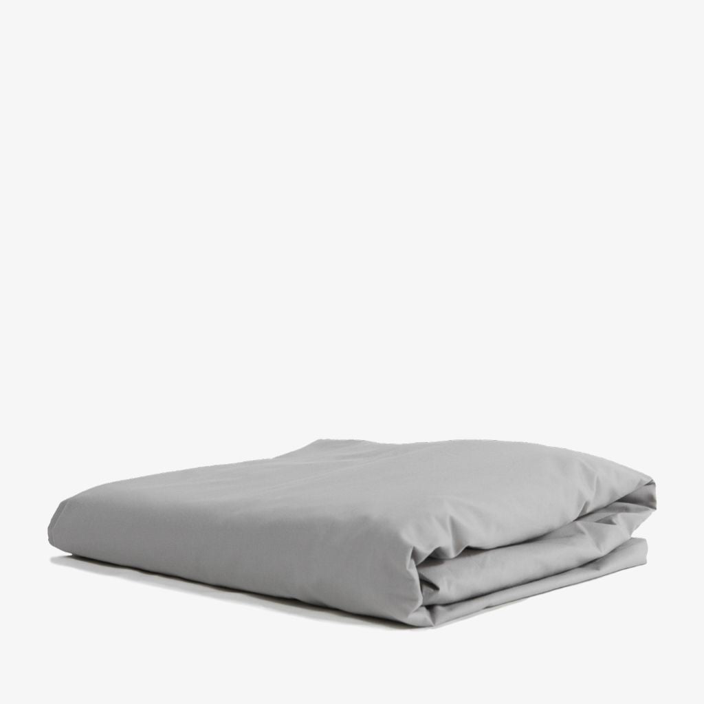 Cotton Percale Fitted Sheet Stone Grey
