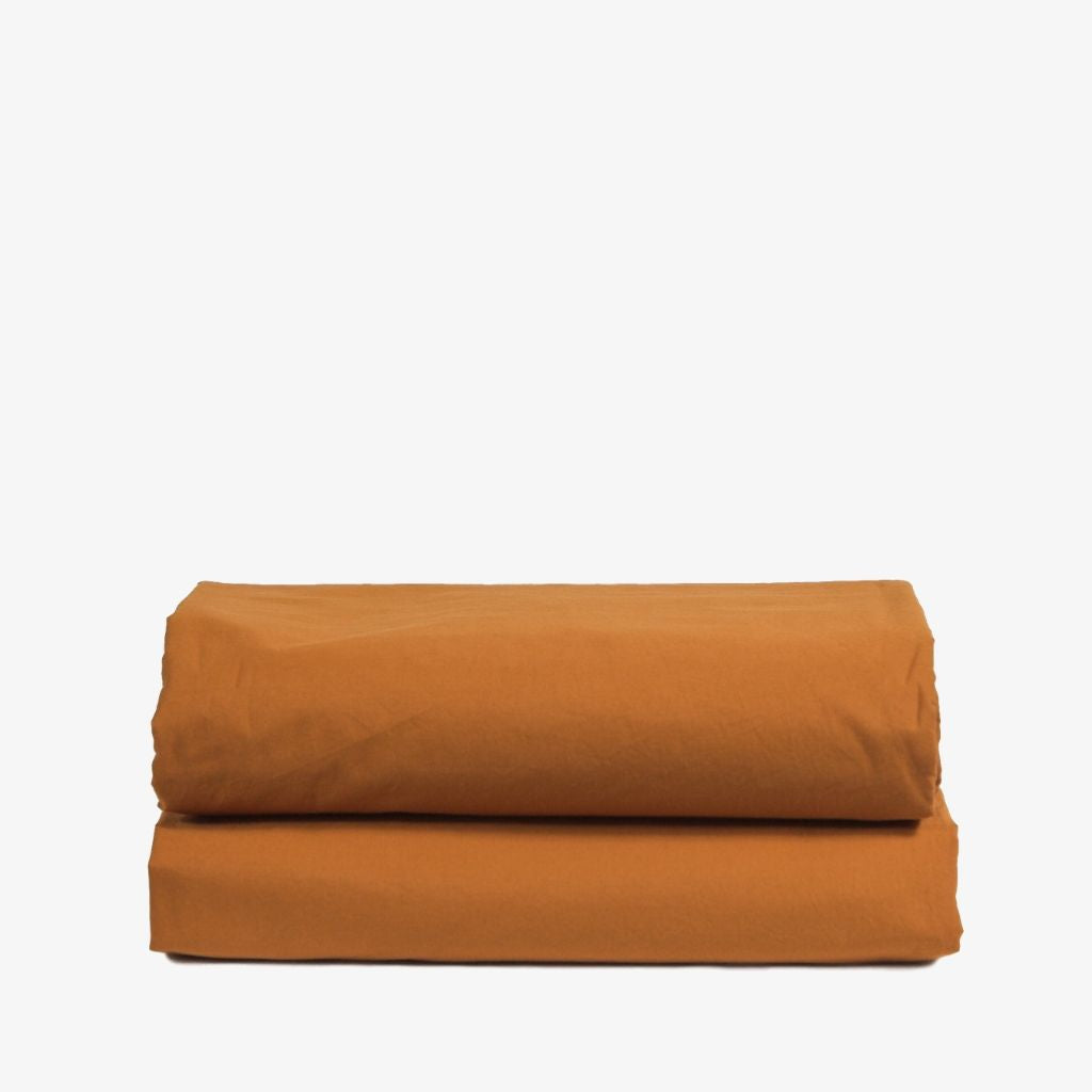 Washed Cotton Percale Flat Sheet Amber