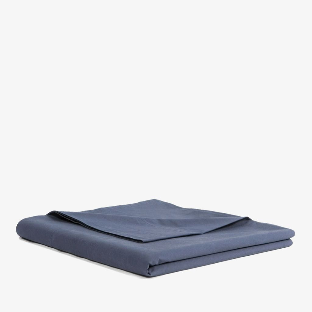 Cotton Percale Flat Sheet Navy Blue
