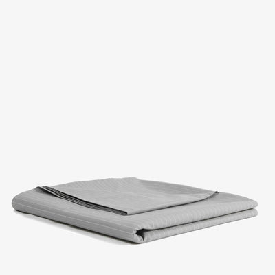 Cotton Percale Flat Sheet Pinstripe Stone Grey