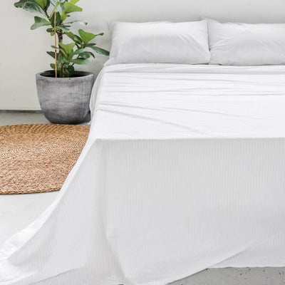 Cotton Percale Flat Sheet Pinstripe White