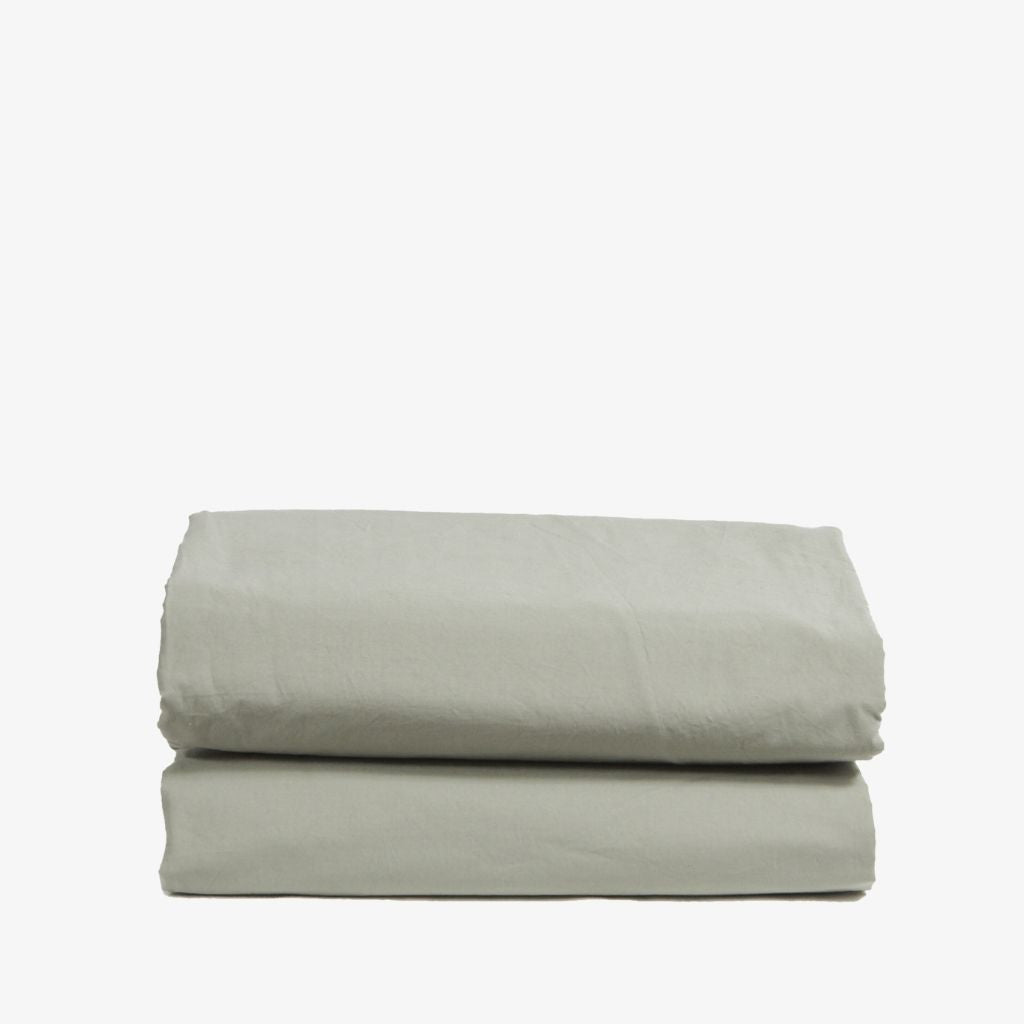 Washed Cotton Percale Flat Sheet Sage