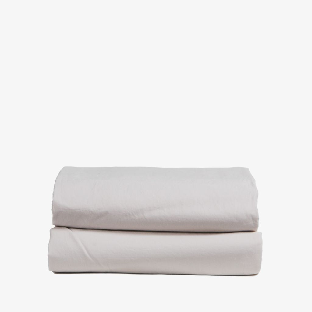 Washed Cotton Percale Flat Sheet Sand