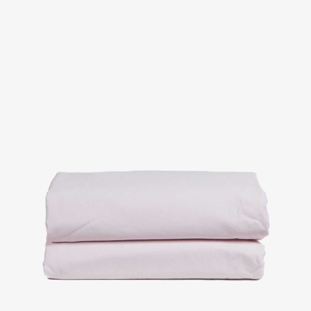 Washed Cotton Percale Flat Sheet Wildflower Pink