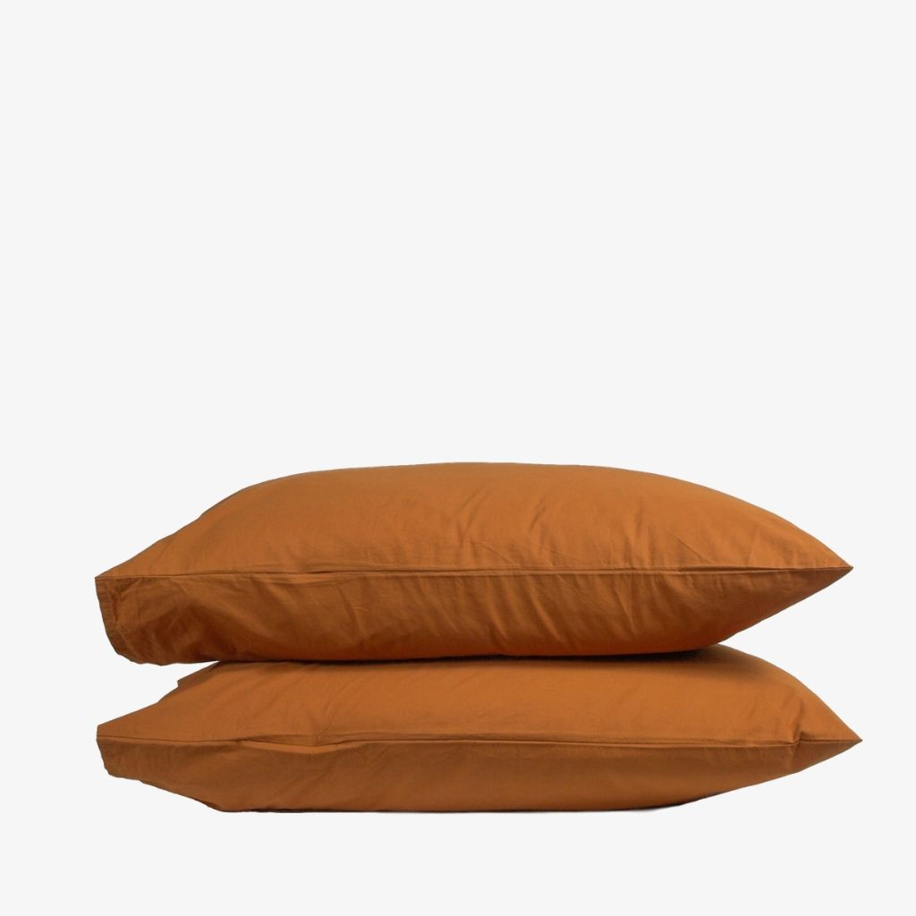 Washed Cotton Percale Pillowcases Amber
