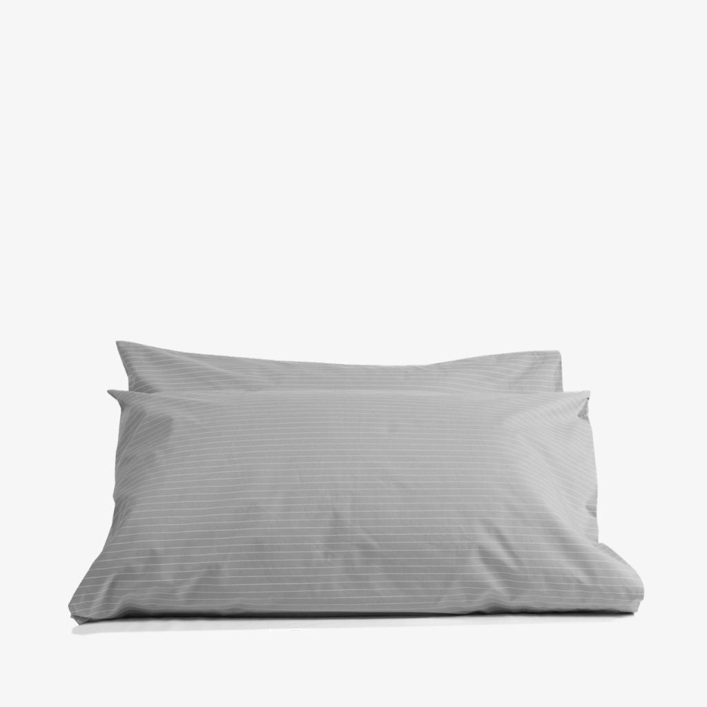 Cotton Percale Pillowcases Pinstripe Stone Grey