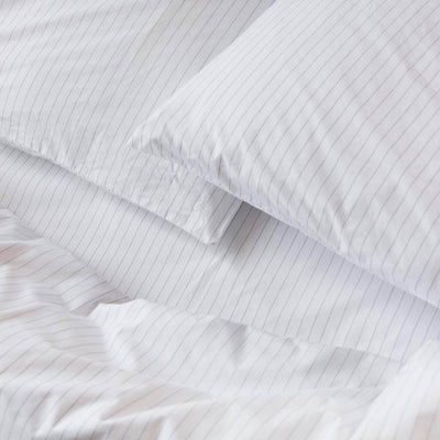 Cotton Percale Pillowcases Pinstripe White