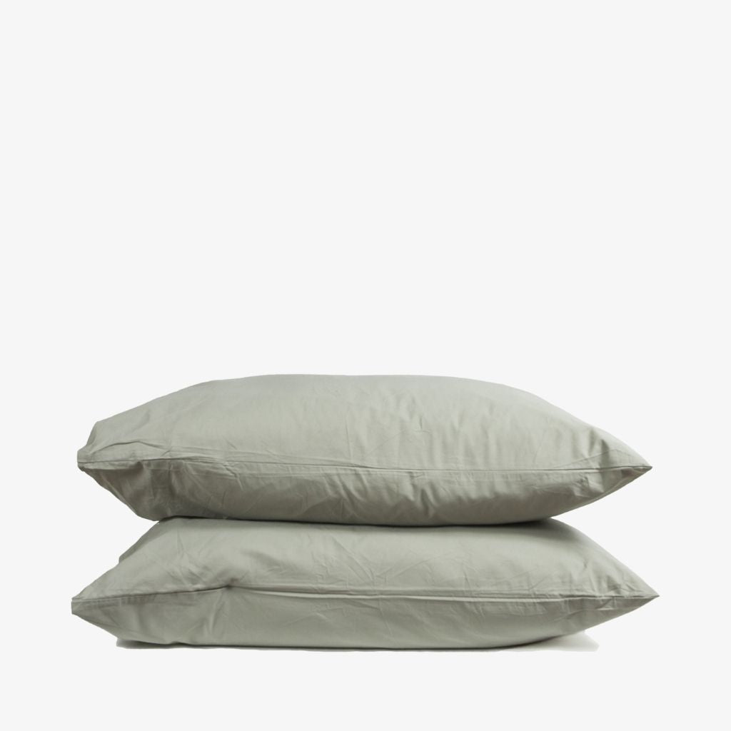Washed Cotton Percale Pillowcases Sage Green