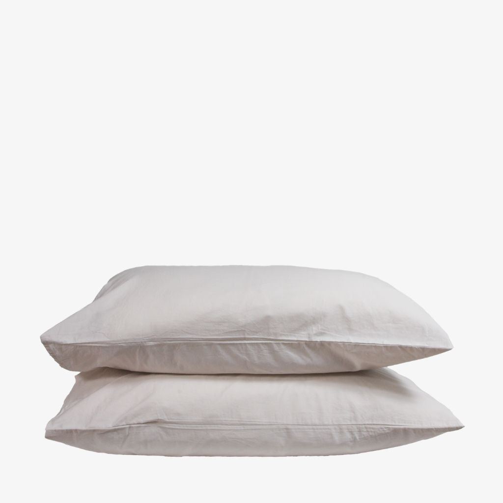 Washed Cotton Percale Pillowcases Sand