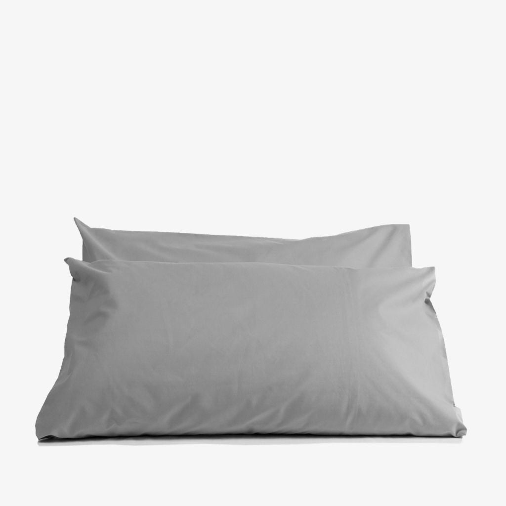 Cotton Percale Pillowcases Stone Grey