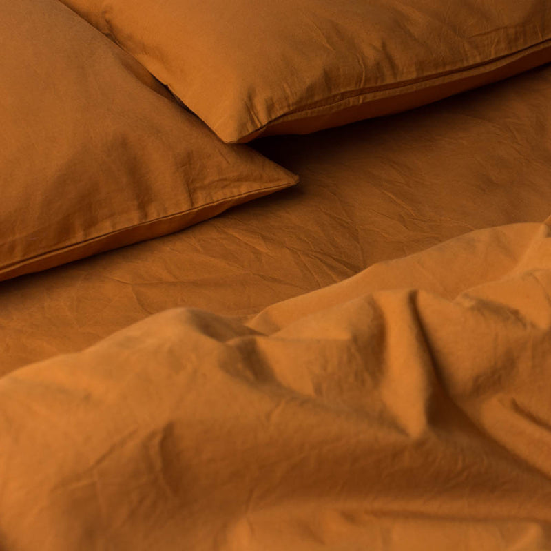 Washed Cotton Percale Quilt Cover Amber