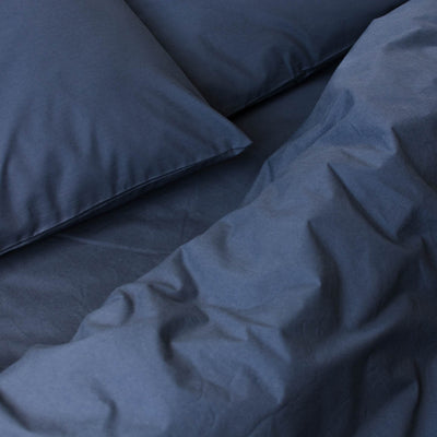 Cotton Percale Quilt Cover Navy Blue