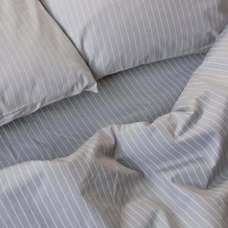 Cotton Percale Quilt Cover Pinstripe Stone Grey