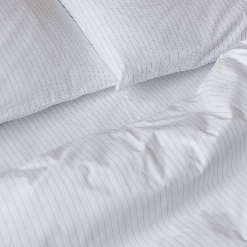 Cotton Percale Quilt Cover Pinstripe White