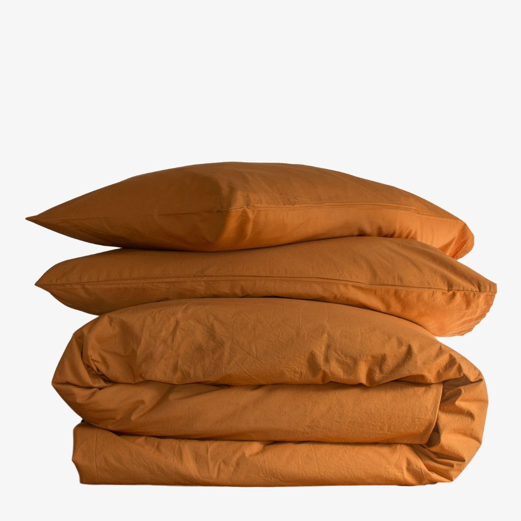 Washed Cotton Percale Quilt Cover Set Amber