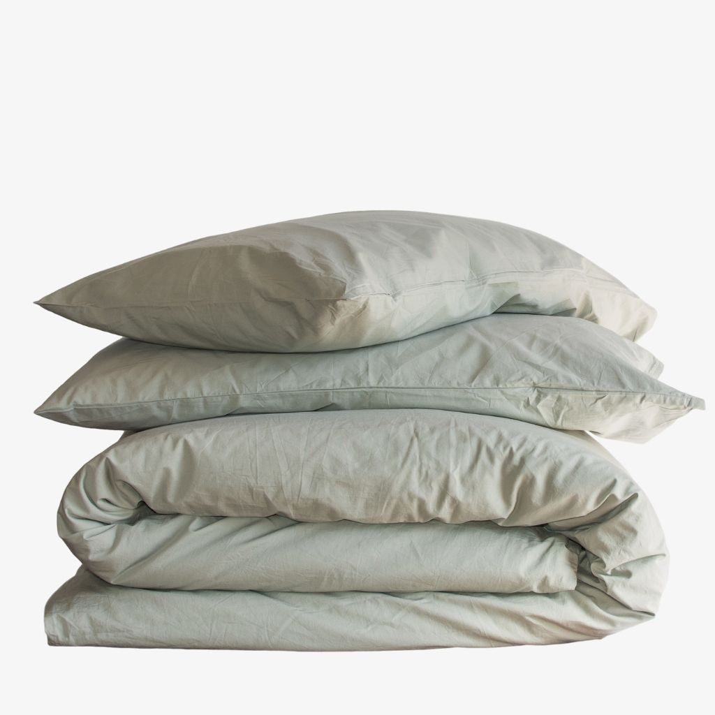 Washed Cotton Percale Quilt Cover Set Sage Green