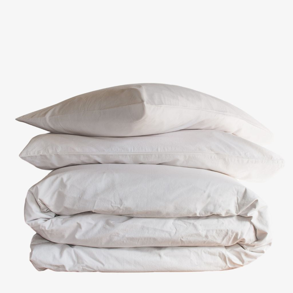 Luxury Washed Cotton Percale Quilt Cover Set Sand