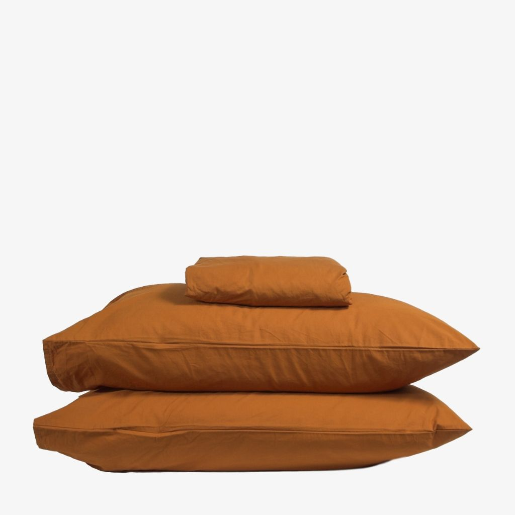 Luxury Washed Cotton Percale Sheet Set Amber
