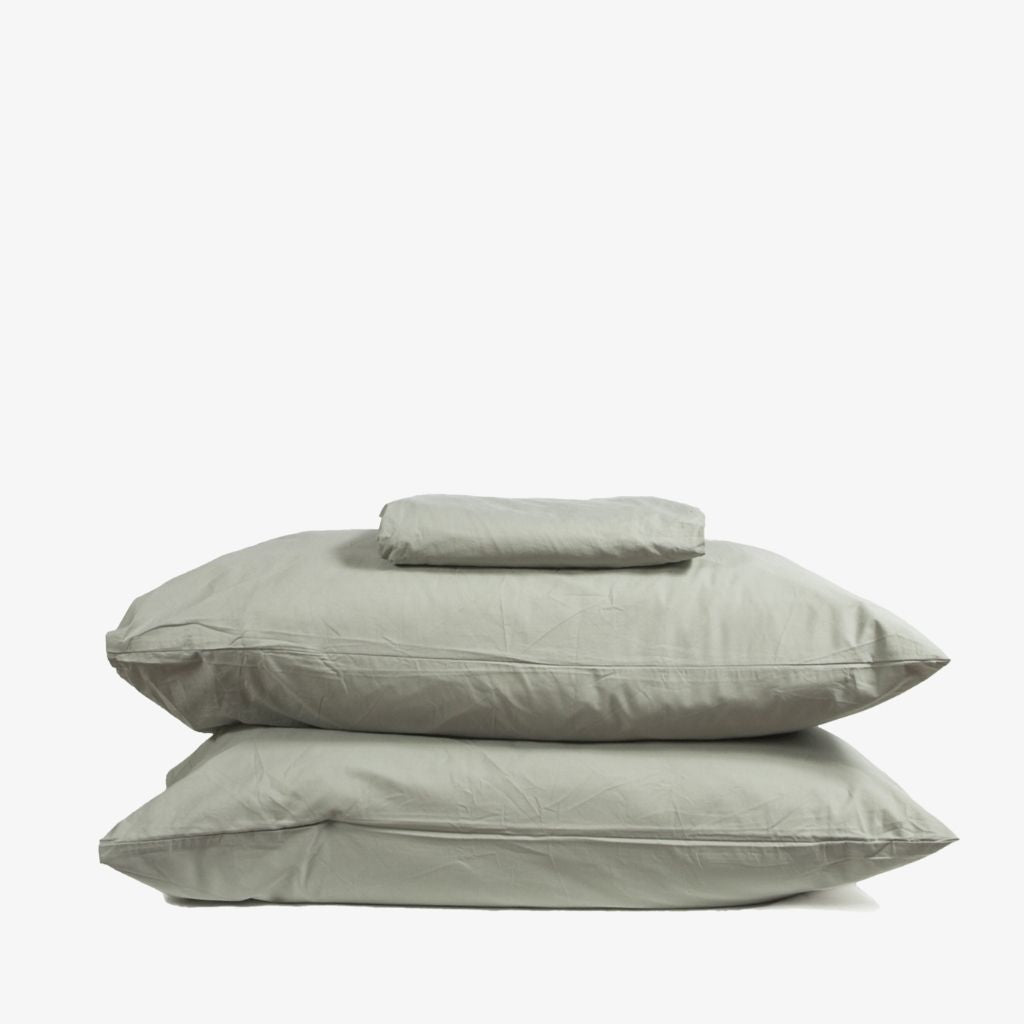Washed Cotton Percale Sheet Set Sage Green