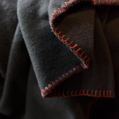 Australian Merino Wool Throw Charcoal with Rust stitching
