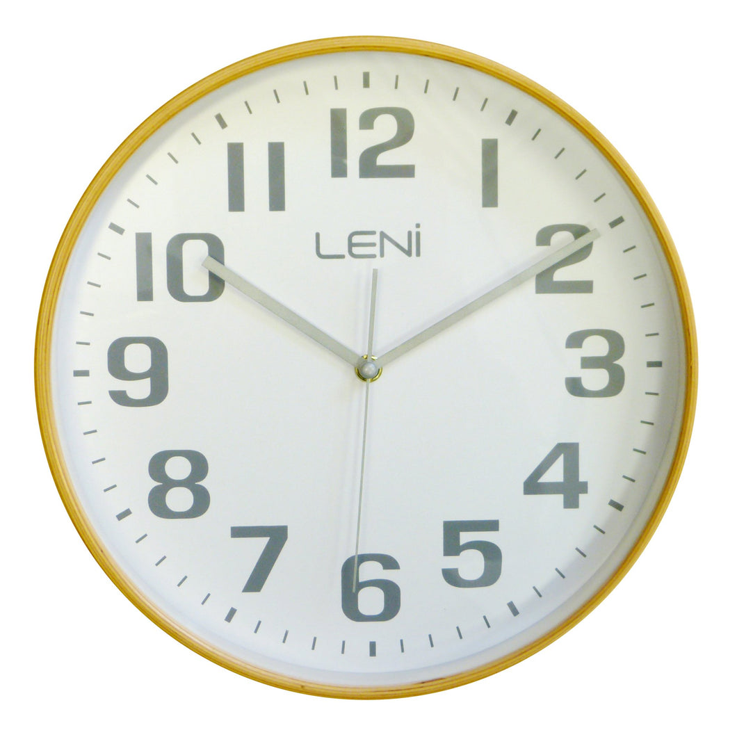 Leni Wood Wall Clock - White