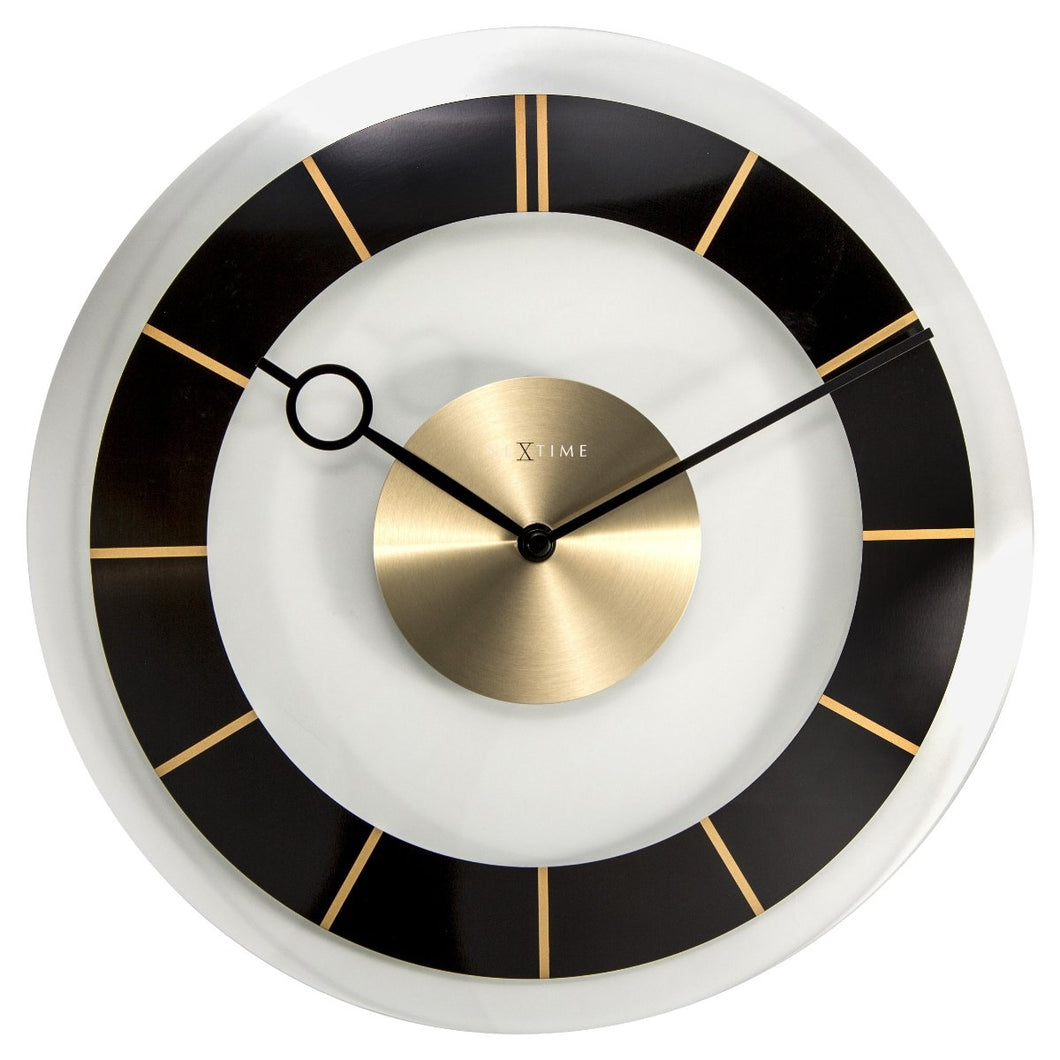 Retro Glass Wall Clock - Black
